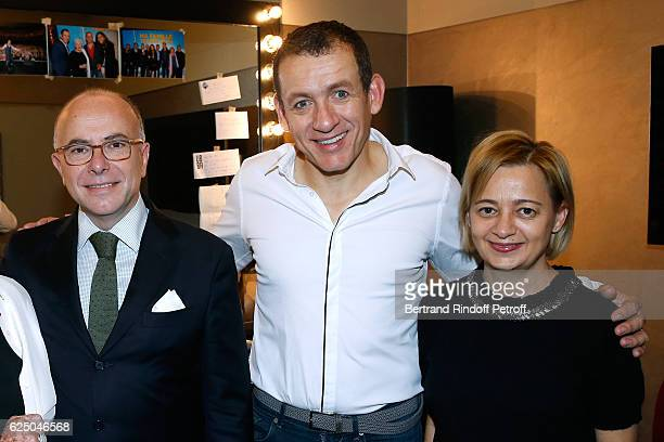 Interior Minister of France Bernard Cazeneuve humorist Dany Boon and Veronique Cazeneuve pose Backstage after the 'Dany De Boon Des HautsDeFrance'...