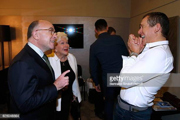 Interior Minister of France Bernard Cazeneuve singer Line Renaud and humorist Dany Boon pose Backstage after the 'Dany De Boon Des HautsDeFrance'...