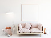 Interior mockup illustration, 3d render of room with sofa, white wall with blank frame and decor