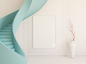 Interior mockup illustration with spiral staircase, 3d render, mint stairs and blank board
