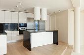 Interior,  wide room with kitchen modern design