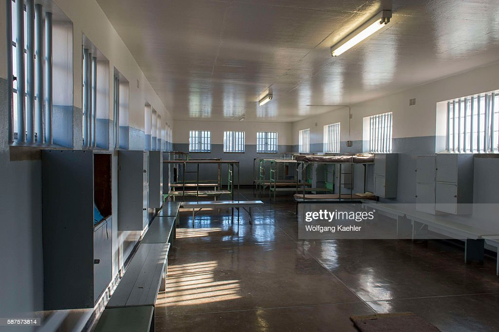 Interior of a community cell at the prison on Robben Island which is an island in Table Bay 69 km west of the coast of Cape South Africa and has been...