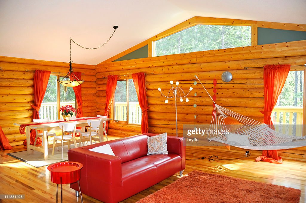Interior of a cosy Canadian log house   Stock Photo. Interior Of A Cosy Canadian Log House Stock Photo   Getty Images