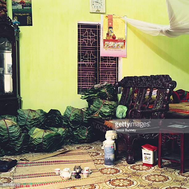 Interior of a house in Thanh Khuc a village specialising in making Banh Chung a square glutinous rice cake wrapped in banana leaves Hanoi Vietnam...