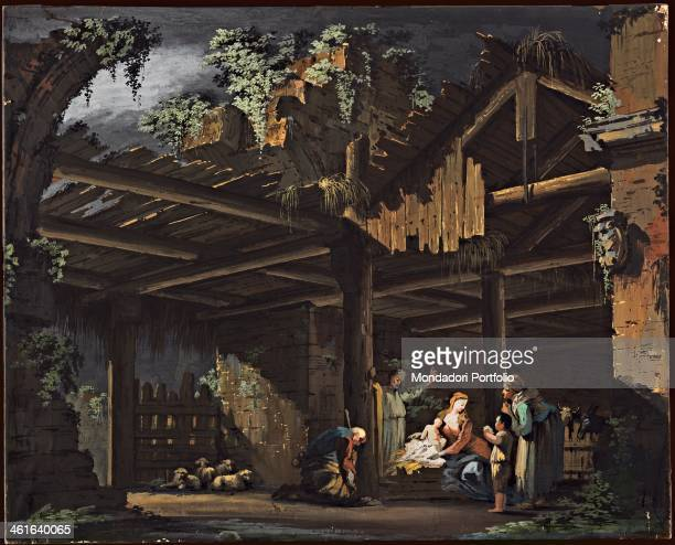 Interior of a Hut with Nativity of Jesus Crib by Bernardino Galliari ca 1790 1794 18th Century tempera on paper glued on canvas cm 595 × 735 Italy...