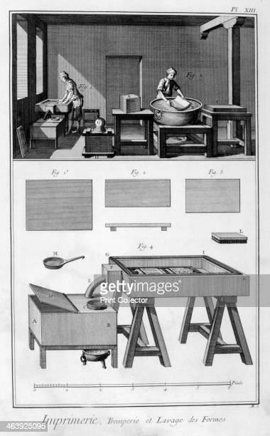 Interior of a Printing Works wetting room 17511777 A print from the Encyclopédie ou Dictionnaire Raisonné des Sciences des Arts et des Métiers by...