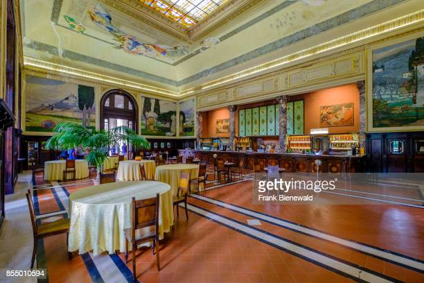 Interior of a restaurant of Tettuccio Terme located in a splendid old building in a wonderful park