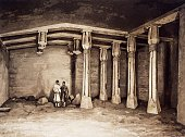 Interior of a rock tomb in the necropolis of Beni Hasan engraving from Panorama of Egypt and Nubia by Hector Horeau