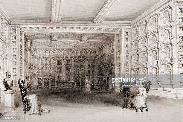 Interior of a room at Malahide Castle County Wicklow Ireland Drawn by WHBartlett engraved by E Challis From 'The Scenery and Antiquities of Ireland'...