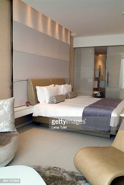 Interior of a room at the Yas Viceroy Hotel in Abu Dhabi straddling the city's Formula One circuit on a manmade island just north of the city center...