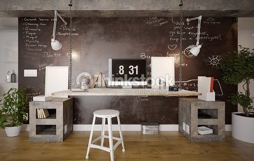 Interior Of A Rustic Home Office Stock Photo