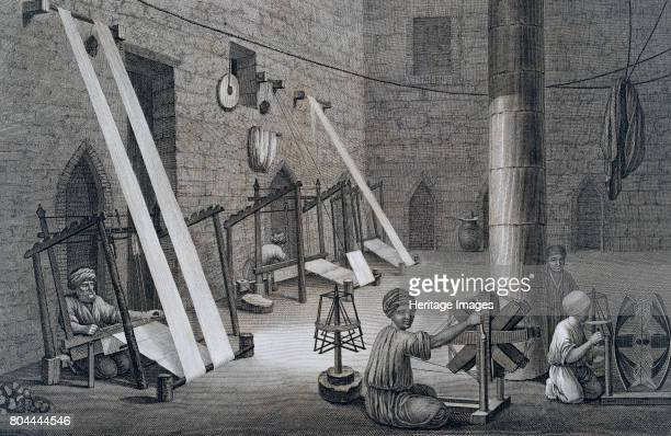 Interior of a Weavers Workshop' Egypt 1822 From Volume II Arts and Trades of Description of Egypt published under the orders of Napoleon 1822 Artist...