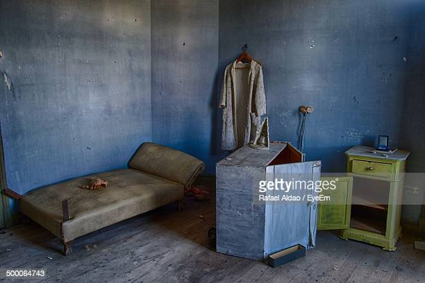 Interior of abandoned bedroom
