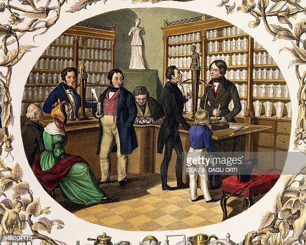 Interior of an Austrian pharmacy colour lithograph by Carl Kunz and Johann Geiger Austria 19th century