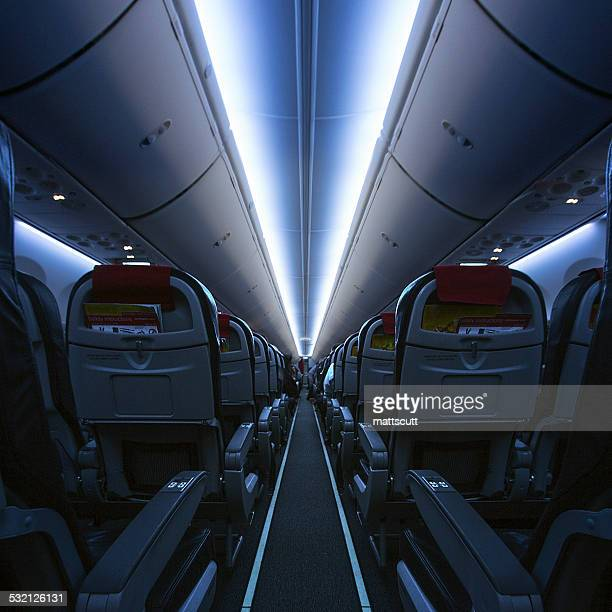 Interior of an empty cabin on airplane