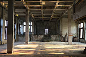 interior of an old abandoned building view