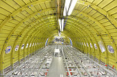 Interior of an unfinished airplane in a hangar
