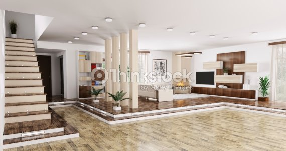 Interieur Der Wohnung Panorama 3d Render Stock-Foto | Thinkstock