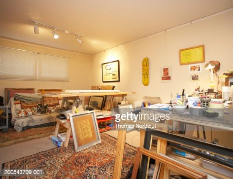 Interior of art studio