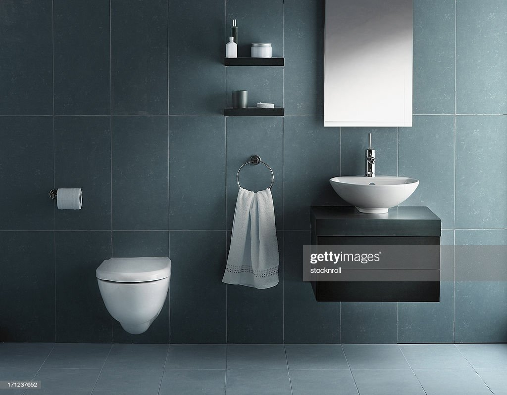 Interior of bathroom in cold tone