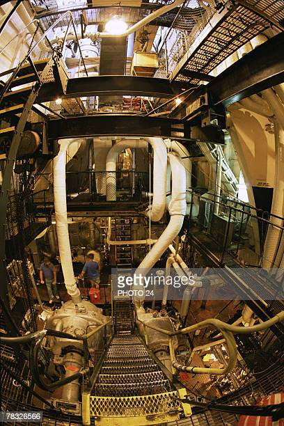 Interior of boat engine room