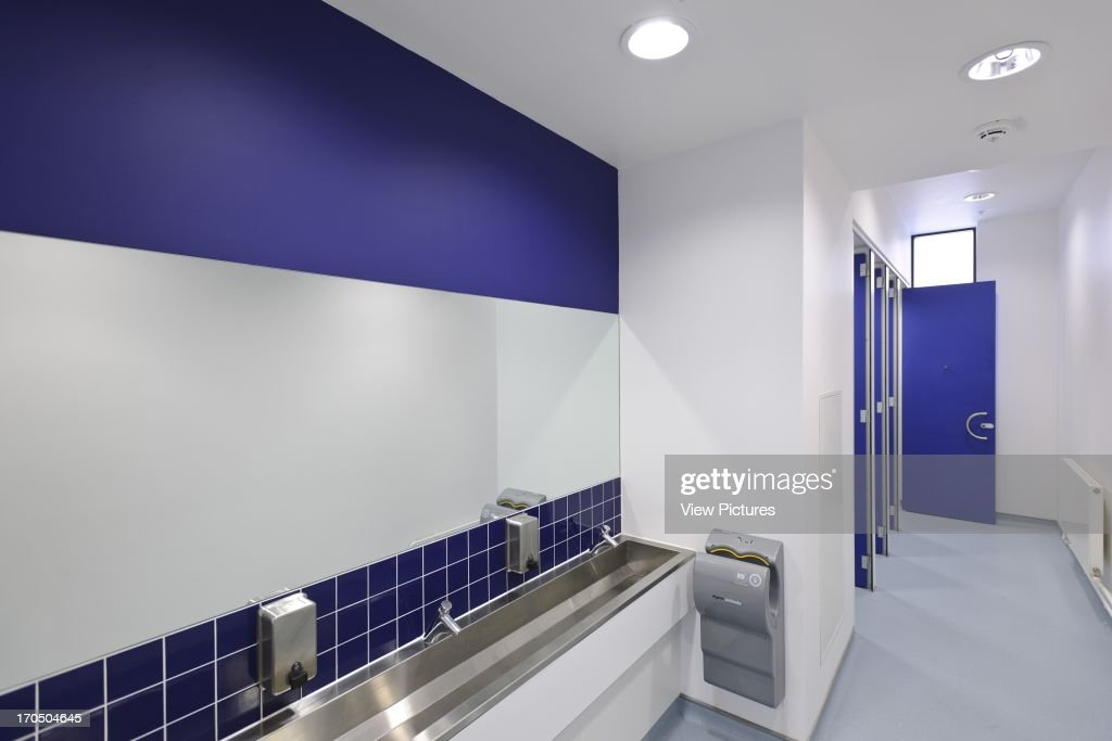 Interior Of Boys Toilet Showing Washbasins And Hand Dryer Strood Academy School