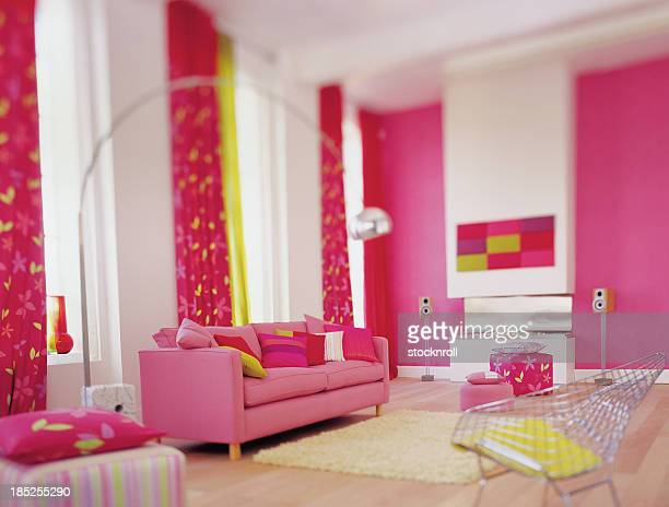 Interior of bright pink colourful lounge