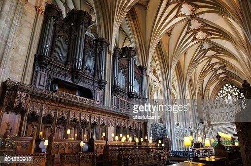 Interior of Bristol cathedral in United Kingdom : Stock Photo