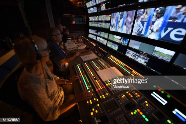 Interior of broadcast trucks during the Sky Sports Cricket coverage of day two of the 1st Investec test match between England and Pakistan at Lord's...