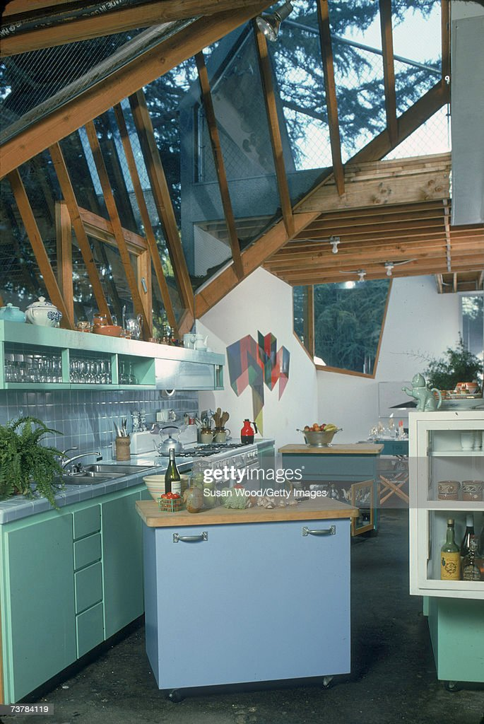 Interior of CanadianAmerican modern architect Frank Gehry's house showing the kitchen Santa Monica California January 1980