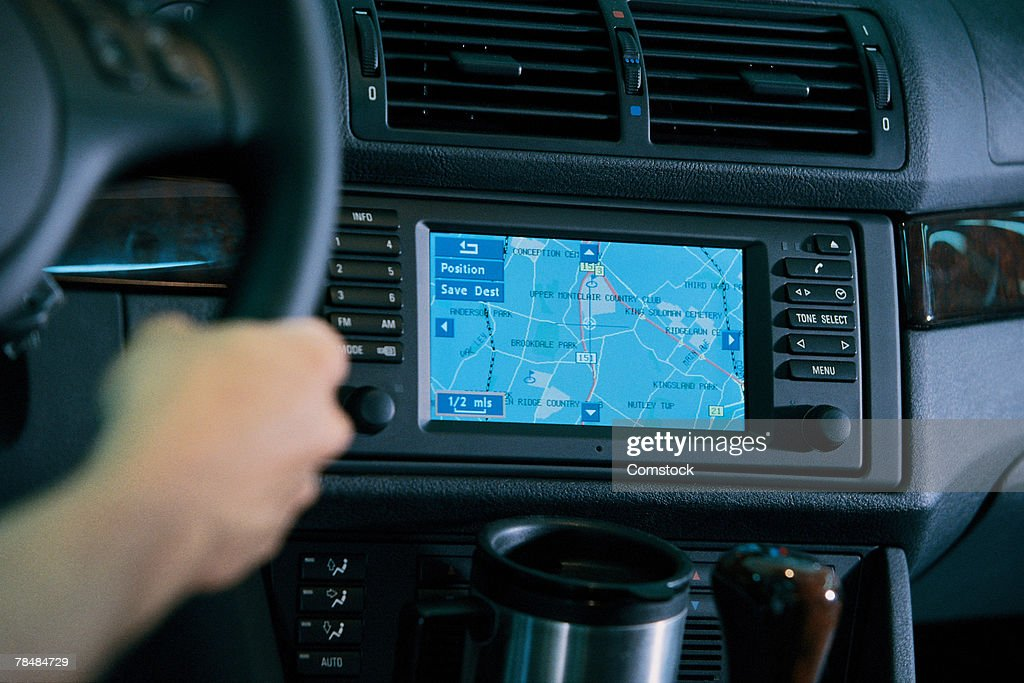 Interior of car with global positioning system