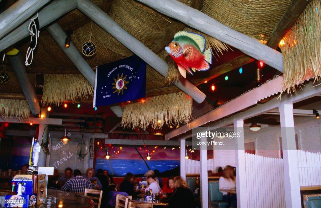 Interior of Cheeseburger in Paradise restaurant, Village West area. : Stock Photo