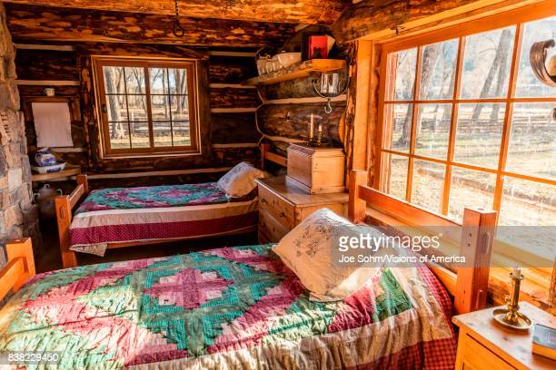 Interior of Classic Western Historic 'Line Cabin' built out of dead spruce Centennial Ranch Ridgway Colorado