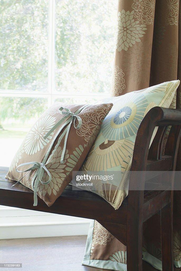 Interior of cushions on window seat