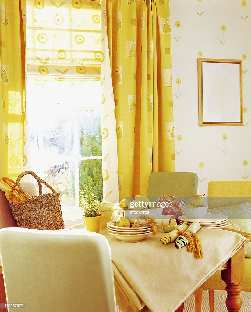 Interior of dining room with fruit on table : Stock Photo