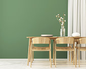3D illustration. Interior of  Dining room with wooden furniture and green wall