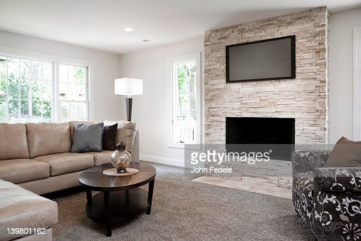 Interior Of Elegant Living Room With Fireplace Stock Photo Getty Images