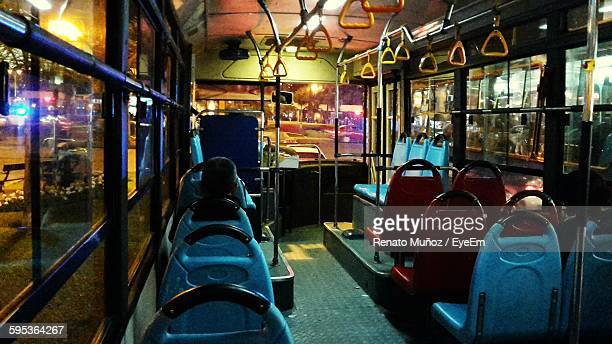 Interior Of Empty Bus At Night
