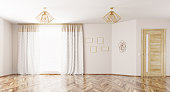 Empty interior, room with window,curtains, lamps and wooden door 3d rendering