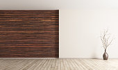 Empty interior background, room with brown wood paneling wall and vase with branch 3d rendering