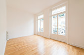 interior of empty room with parquet floor