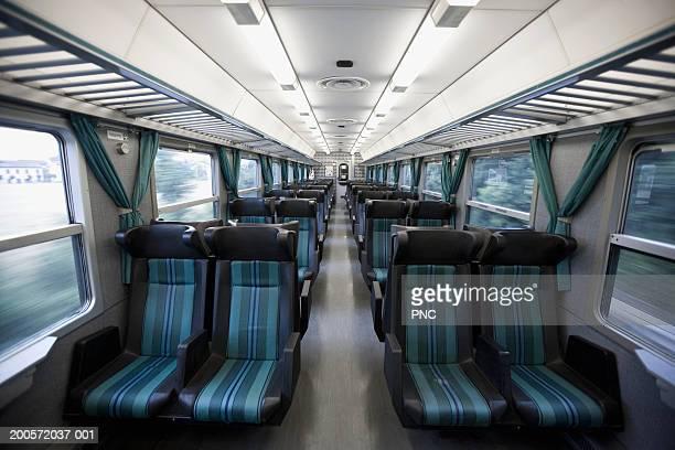 Interior of empty train in motion