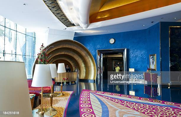 Interior of exclusive lobby in the worlds only 7 star hotel the Burj Al Arab in Dubai in UAE where the economy and money is thriving in the United...