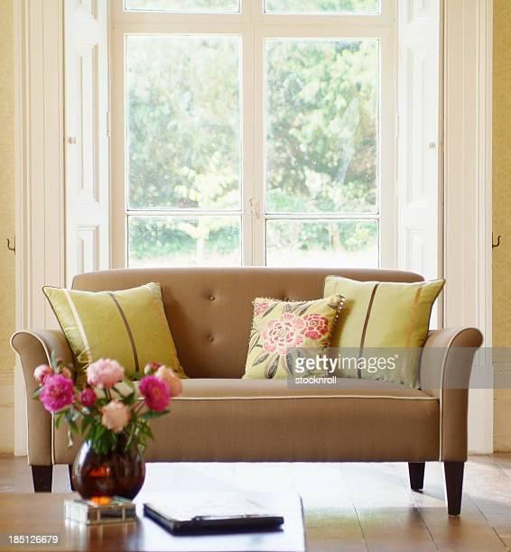 Intérieur classique avec canapé dans la fenêtre des coussins