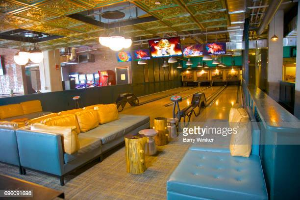 Interior of fun and spacious Cleveland lounge