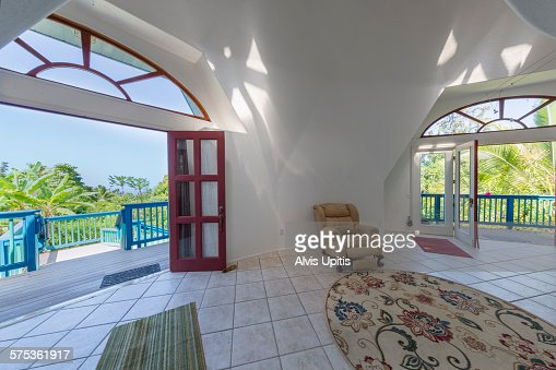 Interior Of Geodesic Home Viewing Out In Hawaii Stock Photo