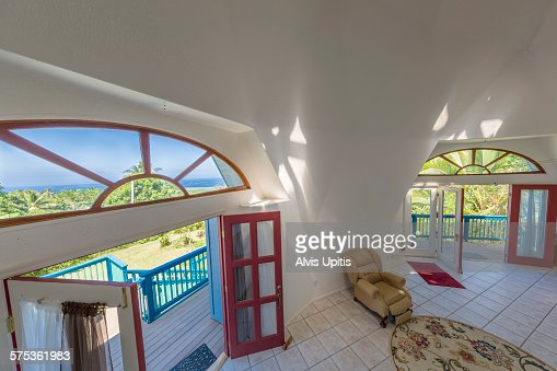 Exterior Of Geodesic Home In South Kona Hawaii Stock Photo
