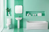 Interior of green bathroom