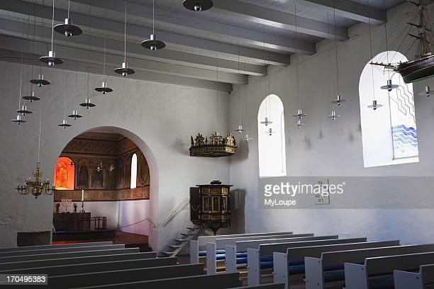 Interior of Jelling Church a UNESCO world heritage tourist attraction Jutland Denmark
