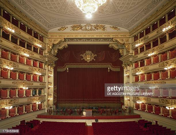 Interior of La Scala Opera House before its restoration in 2004 design by Giuseppe Piermarini Milan Lombardy Italy